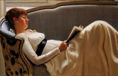 Vacker läsande kvinna av Johan Patricny